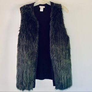 Love On A Hanger Faux Fur Black Knit Vest L